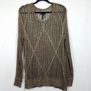 Jean's by Buffalo Metallic Gold Open Knit Sweater